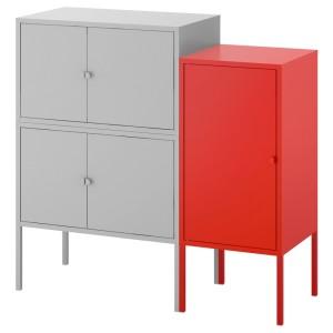 ЛИКСГУЛЬТ Комбинация шкафов, серый, красный