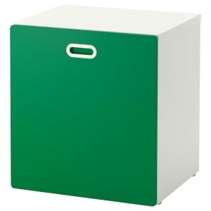 СТУВА / ФРИТИДС Модуль для игрушек, на колесиках, белый, зеленый