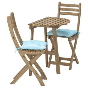 АСКХОЛЬМЕН Стол+2 складных стула, д/сада, серо-коричневая морилка, Куддарна синий голубой
