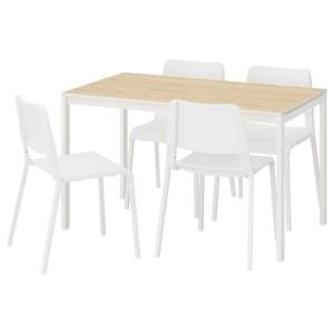 МЕЛЬТОРП / ТЕОДОРЕС Стол и 4 стула, ясень, белый