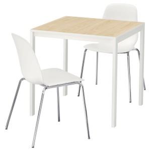 МЕЛЬТОРП / ЛЕЙФ-АРНЕ Стол и 2 стула, ясень белый, Брур-Инге хромированный
