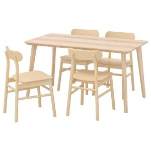 ЛИСАБО / РЁННИНГЕ Стол и 4 стула, ясеневый шпон, береза