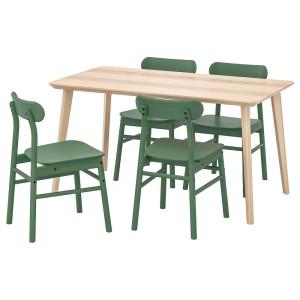 ЛИСАБО / РЁННИНГЕ Стол и 4 стула, ясеневый шпон, зеленый