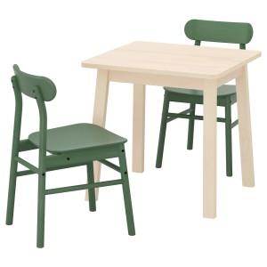 НОРРОКЕР / РЁННИНГЕ Стол и 2 стула, береза, зеленый