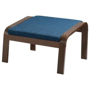 ПОЭНГ Табурет для ног, коричневый, Шифтебу темно-синий