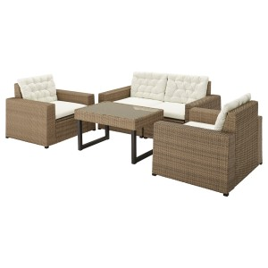 СОЛЛЕРОН 4-местный комплект садовой мебели, коричневый, Куддарна бежевый
