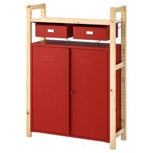 ИВАР Стеллаж со шкафами/ящиками, сосна красный