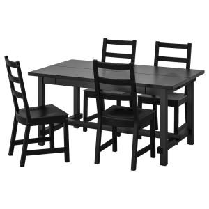 НОРДВИКЕН / НОРДВИКЕН Стол и 4 стула, черный, черный