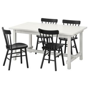НОРДВИКЕН / НОРРАРИД Стол и 4 стула, белый, черный