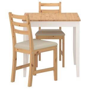 ЛЕРХАМН Стол и 2 стула, светлая морилка антик белая морилка, Виттарид Рамна бежевый