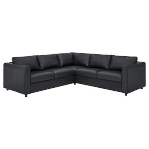 ВИМЛЕ 4-местный угловой диван, Гранн/Бумстад черный