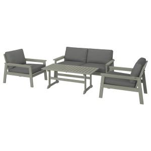 БОНДХОЛЬМЕН 4-местный комплект садовой мебели, серый морилка, ФРЁСЁН/ДУВХОЛЬМЕН темно-серый