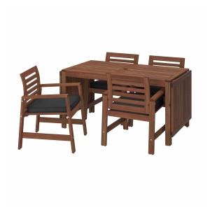 ЭПЛАРО Стол+4 кресла, д/сада, коричневая морилка, ЙЭРПОН/дувхольмен антрацит