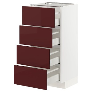 МЕТОД / МАКСИМЕРА Напольн шкаф 4 фронт панели/4 ящика, белый Калларп, глянцевый темный красно-коричневый