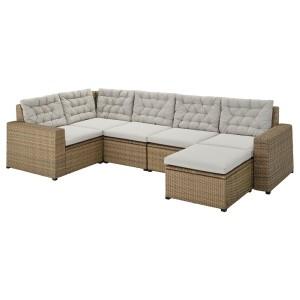 СОЛЛЕРОН Модульный угл 4-мест диван, садовый, с табуретом для ног коричневый, Куддарна серый