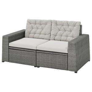 СОЛЛЕРОН 2-местный модульный диван, садовый, темно-серый, Куддарна серый