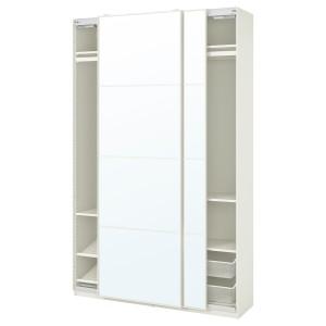 ПАКС / АУЛИ Гардероб, комбинация, белый, зеркальное стекло