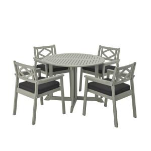 БОНДХОЛЬМЕН Стол+4 кресла, д/сада, серый морилка, ЙЭРПОН/дувхольмен антрацит