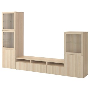 БЕСТО Шкаф для ТВ, комбин/стеклян дверцы, под беленый дуб, Лаппвикен под беленый дуб, прозрачное стелко