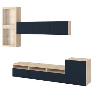 БЕСТО Шкаф для ТВ, комбин/стеклян дверцы, под беленый дуб, Нотвикен синий прозрачное стекло