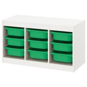 ТРУФАСТ Комбинация д/хранения+контейнеры, белый, зеленый