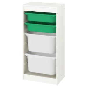 ТРУФАСТ Комбинация д/хранения+контейнеры, белый, зеленый белый