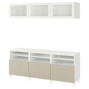 БЕСТО Шкаф для ТВ, комбин/стеклян дверцы, белый Суттервикен, серо-бежевый прозрачное стекло