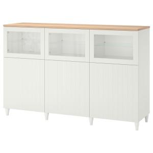 БЕСТО Комбинация для хранения с дверцами, белый, СУТТЕРВ/КАББАРП белый прозрачное стекло