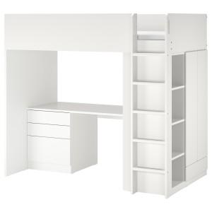 СМОСТАД Кровать-чердак, белый белый, с письменным столом с 4 ящиками