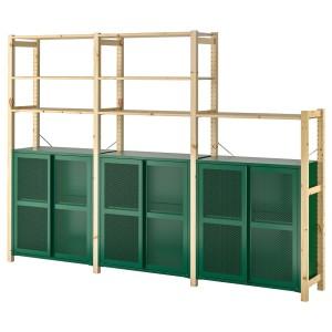 ИВАР 3 секции/полки/шкаф, сосна, зеленый сетка