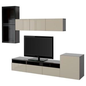 БЕСТО Шкаф для ТВ, комбин/стеклян дверцы, черно-коричневый, Сельсвикен глянцевый/бежевый прозрачное стекло