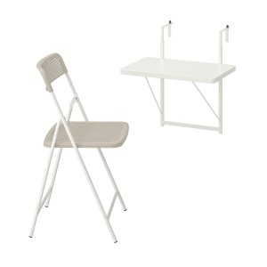ТОРПАРЁ Стол+1 складной стул, д/сада, белый, бежевый