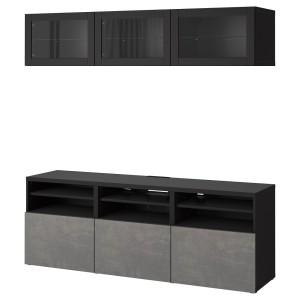 БЕСТО Комбинация для ТВ/стеклянные дверцы, черно-коричневый Синдвик, КЭЛЛЬВИКЕН темно-серый