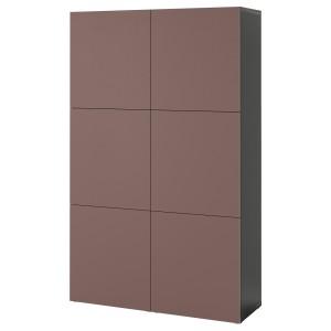 БЕСТО Комбинация для хранения с дверцами, черно-коричневый, Хёртвикен коричневый