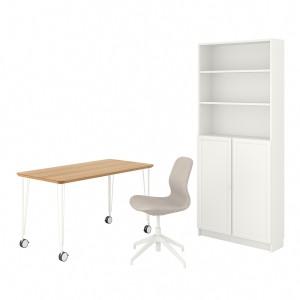 АНФАЛЛАРЕ/ЛОНГФ / БИЛЛИ/ОКСБЕРГ Стол и комбинация для хранения, и рабочий стул бамбук, бежевый белый