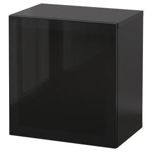 БЕСТО Комбинация настенных шкафов, черно-коричневый, Глассвик дымчатое стекло