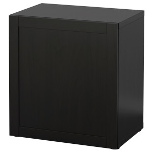 БЕСТО Стеллаж с дверью, черно-коричневый, Ханвикен черно-коричневый