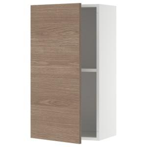 КНОКСХУЛЬТ Навесной шкаф с дверцей, под дерево, серый