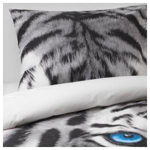 УРСКОГ Пододеяльник и 1 наволочка, тигр, серый