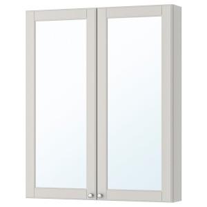 ГОДМОРГОН Зеркальный шкаф с 2 дверцами, Кашён светло-серый