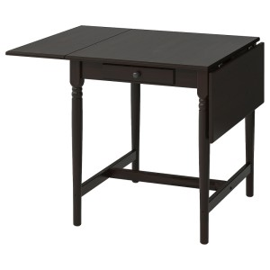 ИНГАТОРП Стол c откидными полами, черно-коричневый