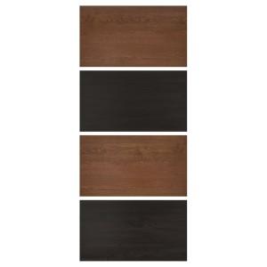 МЕХАМН 4 панели д/рамы раздвижной дверцы, под мореный ясень, черно-коричневый, под коричневый мореный ясень