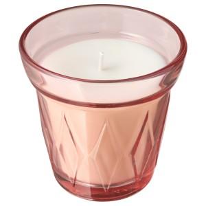 ВЭЛЬДОФТ Ароматическая свеча в стакане, лесная земляника, темно-розовый