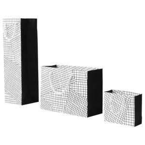 ХАНТВЕРК Подарочный пакет,3 штуки, ручная работа белый/черный