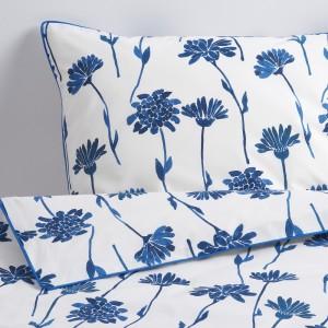 ФИННОКСЕЛЬ Пододеяльник и 1 наволочка, белый, синий цветок