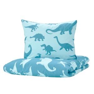 ЙЭТТЕЛИК Пододеяльник и 1 наволочка, динозавр, синий