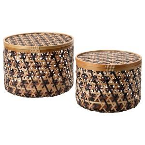 АНИЛИНАРЕ Коробка с крышкой, 2 шт., бамбук черный, коричневый