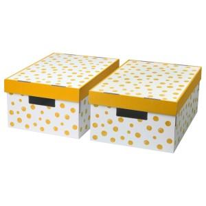 ПИНГЛА Коробка с крышкой, точечный, оранжевый, 2шт