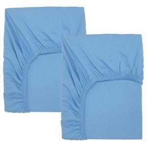 ЛЕН Простыня натяжн для кроватки, голубой, 2шт