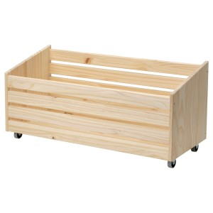 ИВАР Ящик для хранения, на колесиках, сосна